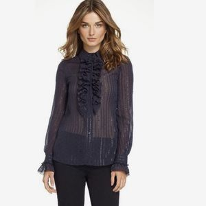 Tory Burch Stella Navy Ruffled Sheer Button Down